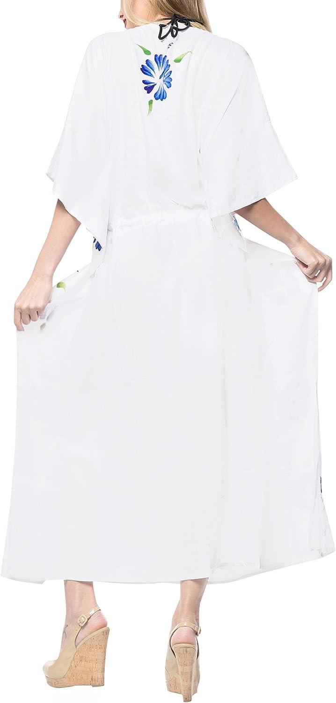 LA LEELA Boho Women Rayon Tie Dye Kaftan Tunic Kimono Free Size Long Maxi Party Dress for Loungewear Nightwear Beach Everyday Cover UP Top G
