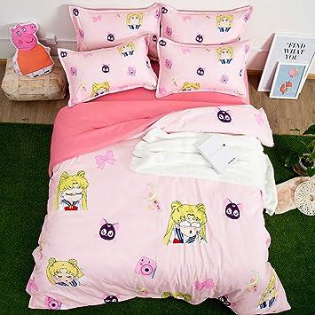 Zhouing Sailor Moon Bettwäsche Sets 4 Piece Kinder Polyester Bett