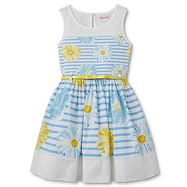 26ad12123723 Nannette Nannette Mädchen Sommer Kleid Weiß Blau gestreift mit ...