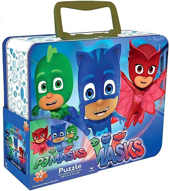 PJ Masks Lunch Box Tin with Handle Themed Jigsaw Puzzle ...