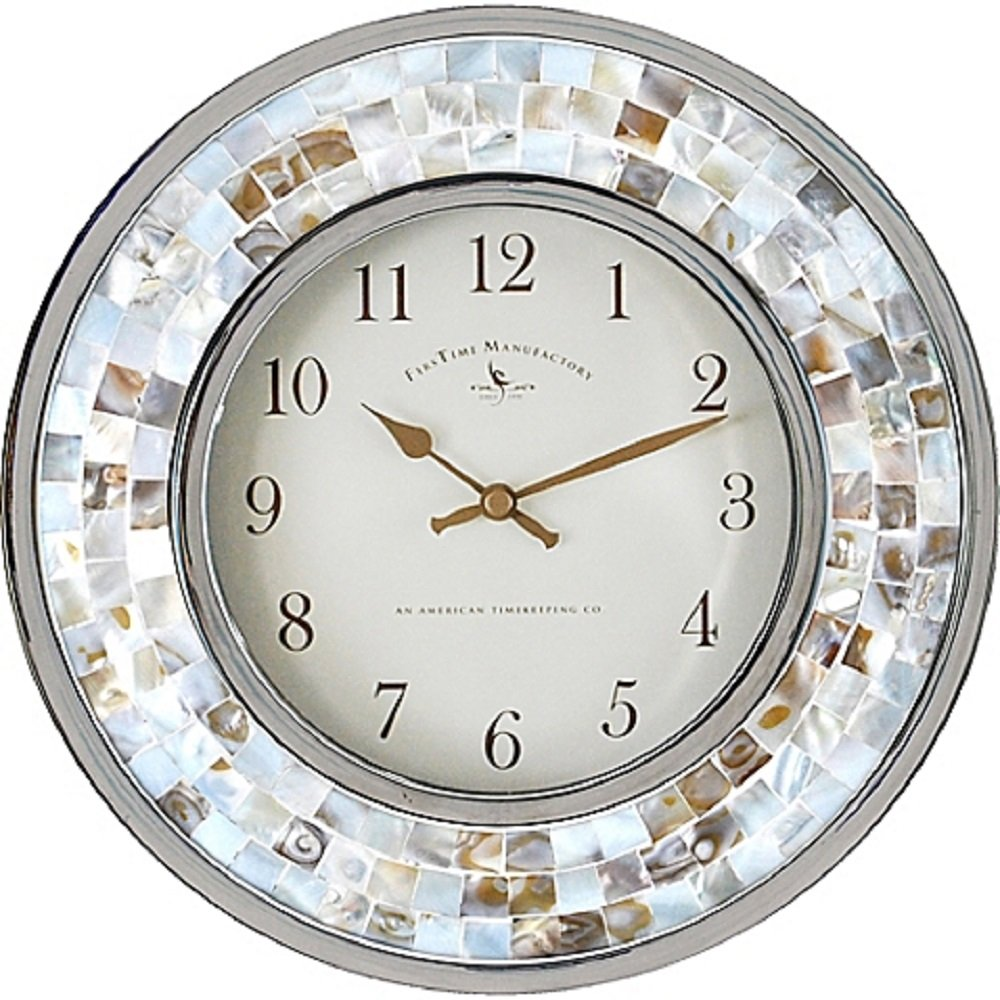 FirsTime Mosaic Shells Wall Clock - Marine Decore - 10""