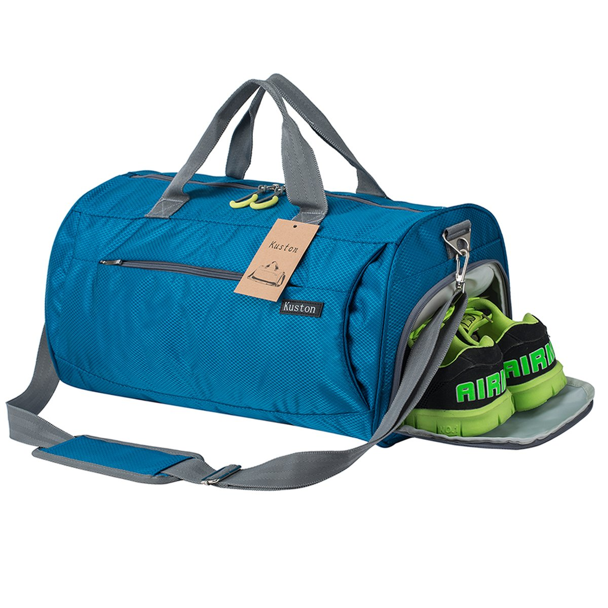 Kuston Sports Gym Bag with Shoes Compartment Travel Duffel Bag for Men and Women (sky blue)