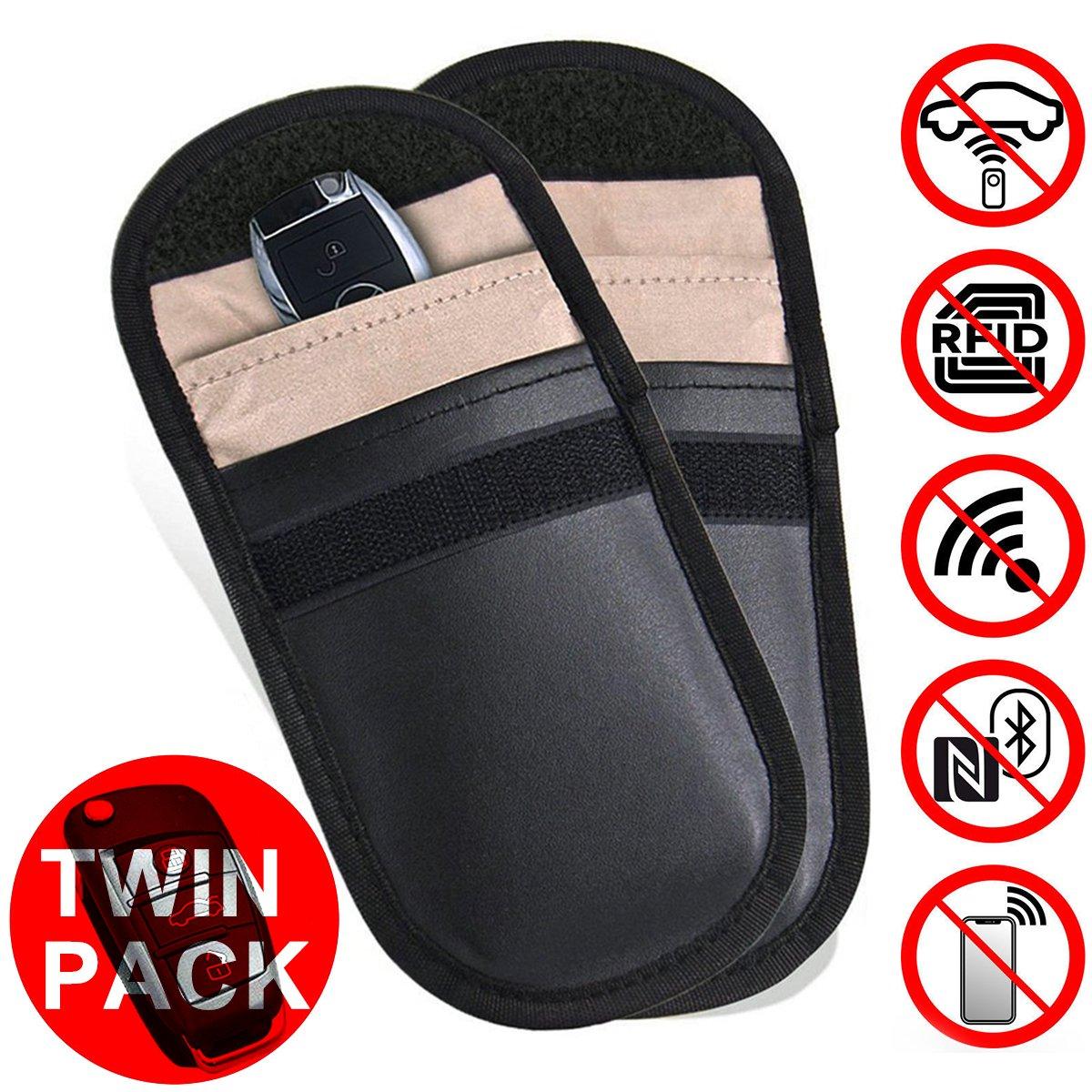 2PCS Black 4350414652 Dealpeak Car Keyless Signal Blocker Case Car Key FOB Protector Car Keyless Bag Credit Card Driver License Holder