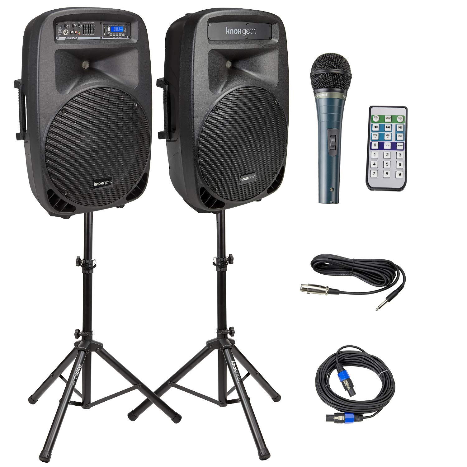 Knox Dual 15'' Speakers, 600 Watt - 8 Piece Portable PA System - Microphone, Tripods, Remote Control - Bluetooth, USB, SD Card, RCA and 1/4'' Inputs - Colorful LED Lights