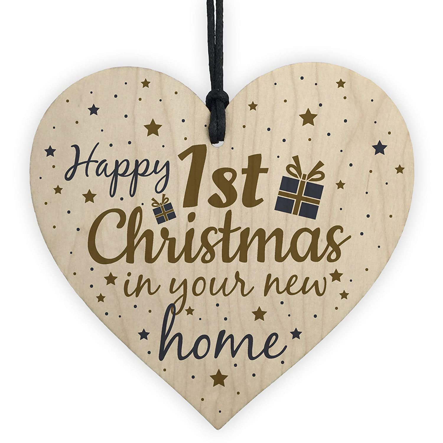 RED OCEAN Happy First Christmas In Your New Home Christmas Decoration Bauble For New House Heart Friendship Gift