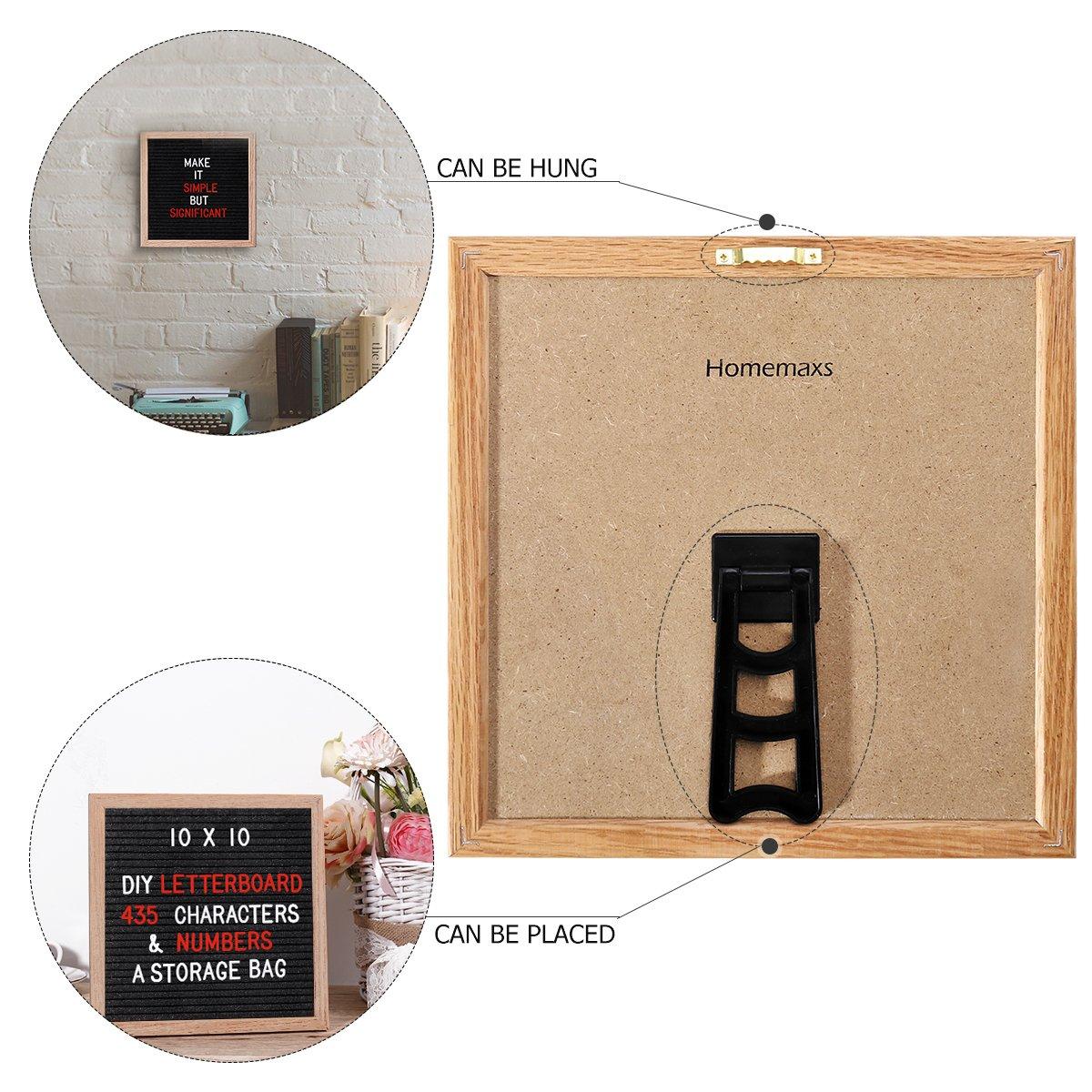 homemaxs roble marco carta Junta con 435 blanco y rojo de letras, números y símbolos, 25,4 x 25,4 cm para la colocación de mesa o para colgar en una pared: ...