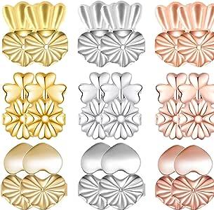 ZoWe Magic Earring Backs Lifters, 9 Pares de elevadores de Pendiente hipoalergénicos Ajustables para Todos los Pendientes de Poste