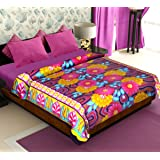 Story@Home Coral Collection Soft Printed Fleece Mink Polyester Double Bed Blanket - Orange