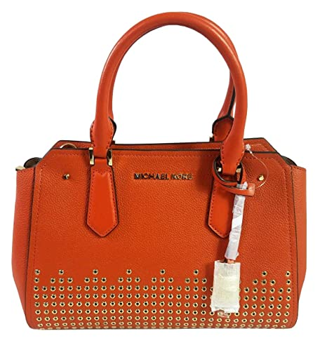 966547917ab1 Michael Kors Hayes Medium Studded Leather Messenger Bag in Persimmon:  Amazon.co.uk: Luggage