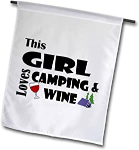3dRose All Smiles Art - Sports and Hobbies - Funny This Girl Loves Wine and Camping Cartoon with Tent Art - 12 x 18 inch Garden Flag (fl_308381_1)