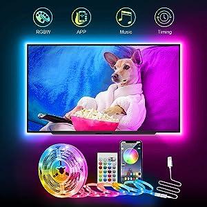 ARKOCHIC TV LED Backlight,8.2FT USB Smart Led Strip Lights Kit for 30-60inch TV, Music Sync TV LED Backlights Color Changing Bias Lighting, APP Control for HDTV Computer Gaming