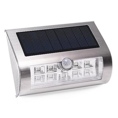 Foco Solar LED con Sensor de Movimiento, AVAWAY Lámpara Solar Lámpara de Pared Impermeable Auto