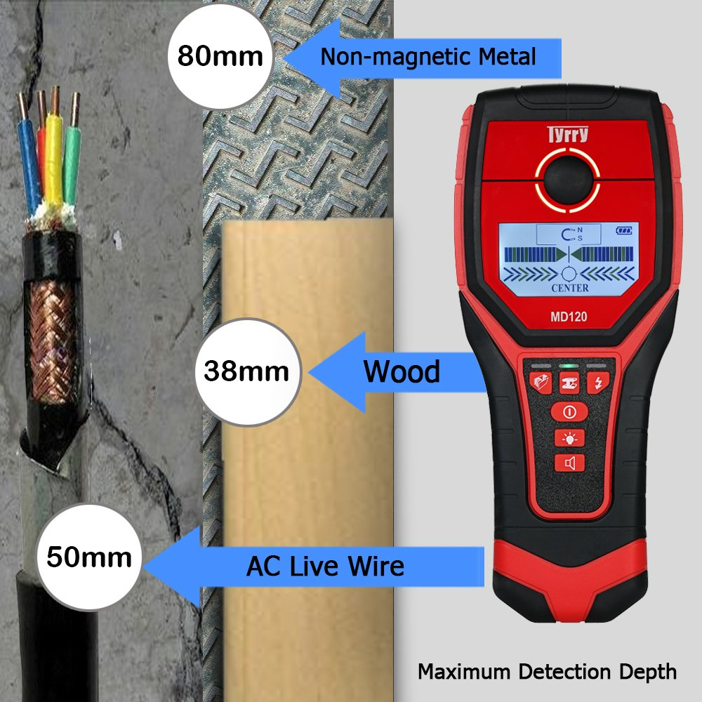 Amazon.com : Tyrry Multi-Functional LCD Digital Wall Detector Metal Wood Studs Finder AC Cable Live : Garden & Outdoor