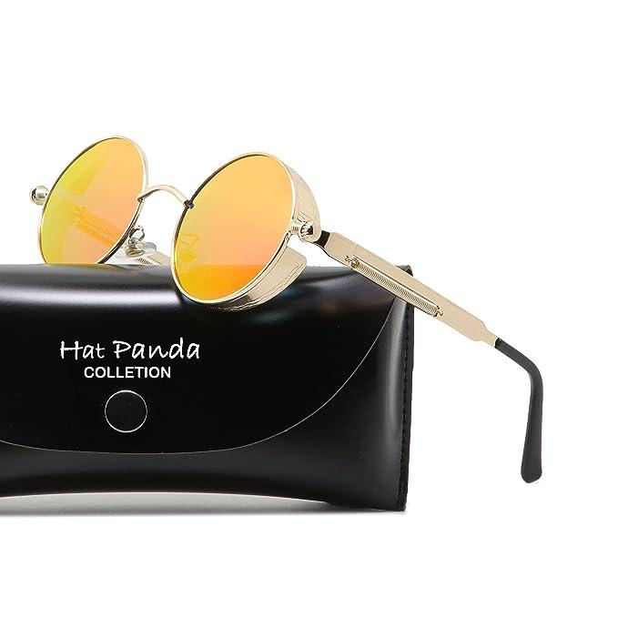 Hat Panda Steampunk estilo retro inspirado círculo metálico redondo gafas de sol polarizadas para hombres (