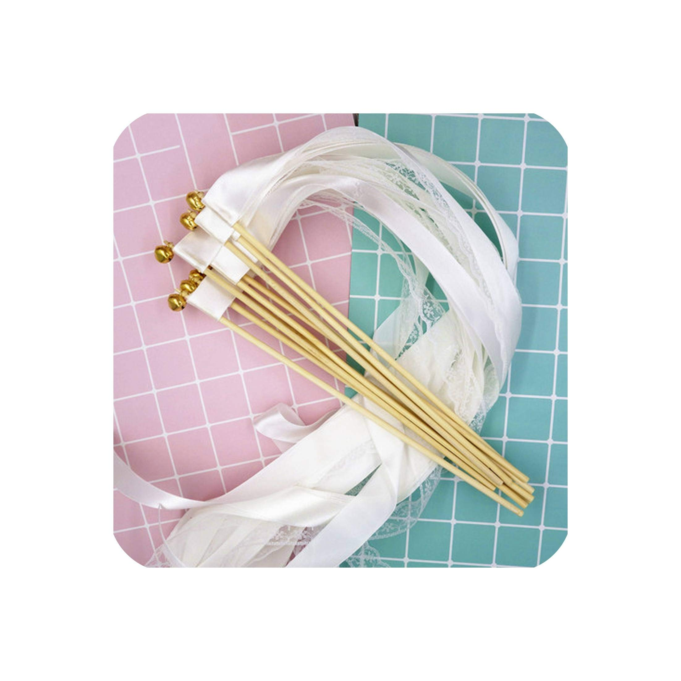 50Pcs White Lace Ribbon Wands Wedding Twirling Streamers Wedding Ribbon Stick Streamers Stick With Bell Send Off Bell Wands,White Ribbon Lace,No Bell