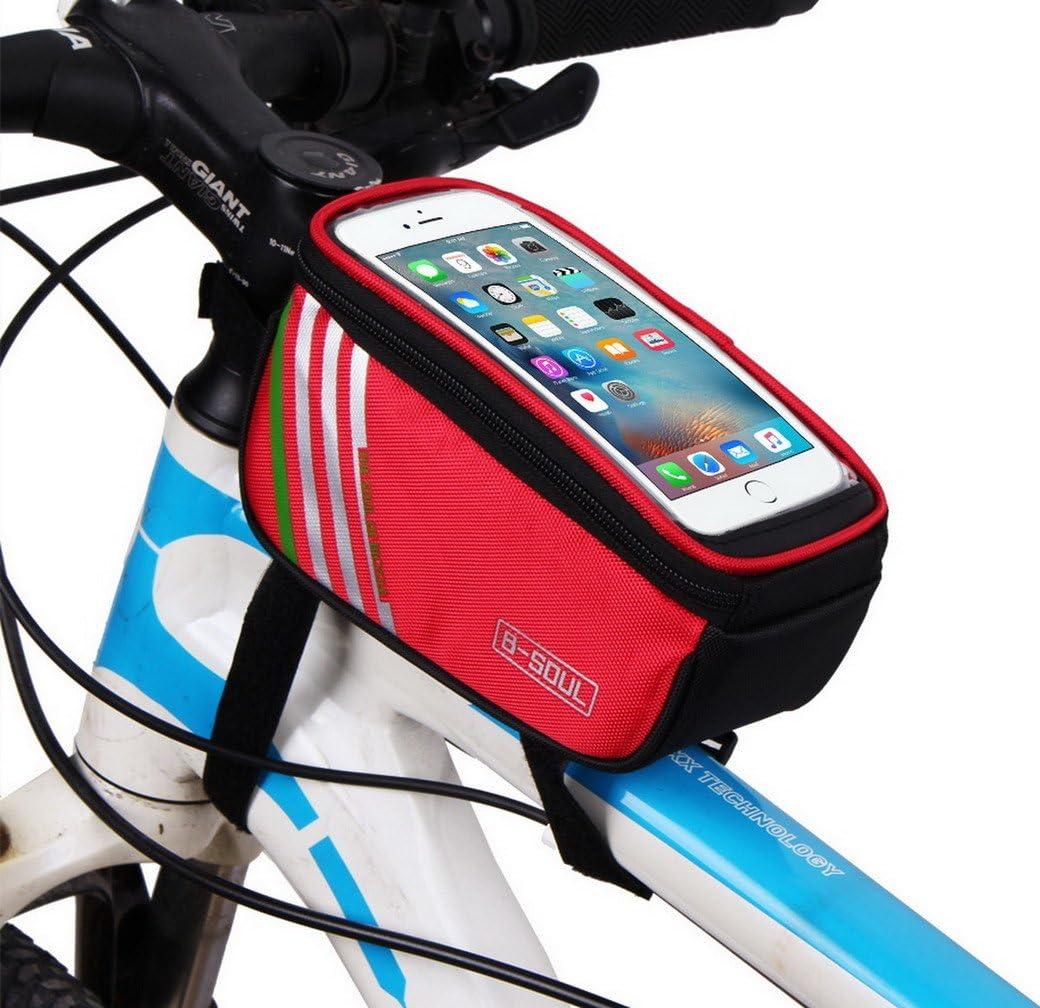 acmede ciclismo marco bolsa, alforja bicicleta tubo superior consolador con arnés impermeable bolsas de manillar para móvil 4.8 – 5.7 inch, Unisex, rojo: Amazon.es: Deportes y aire libre
