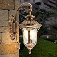 Modeen Retro Antique Victoria Outdoor Wall Light Vintage European Glass Lantern E27 Decoration Aluminum Wall Lamp Garden…
