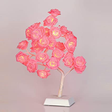 Bolylight LED Table Lamp Adjustable Rose Flower Desk Lamp Night Light Centerpiece Great Decor for Home/Christmas/Party/Festival/Wedding USB/Battery ...