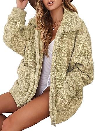 e6d62e939d9 Astylish Womens Long Sleeve Lapel Zip Up Fleece Fuzzy Jacket with Pockets  Solid Winter Warm Oversized Fluffy Coats Fashion 2018 Medium 8 10 Khaki at  Amazon ...