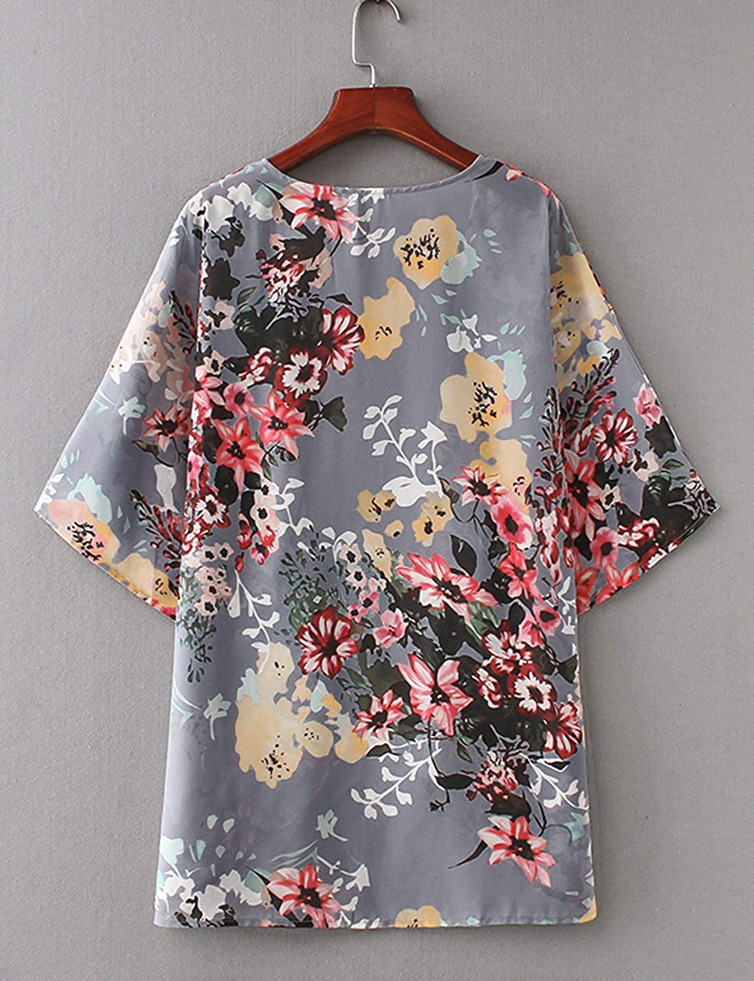 Omoone Womens Batwing Sleeve Floral Chiffon Cardigan Kimono Beachwear Cover Up