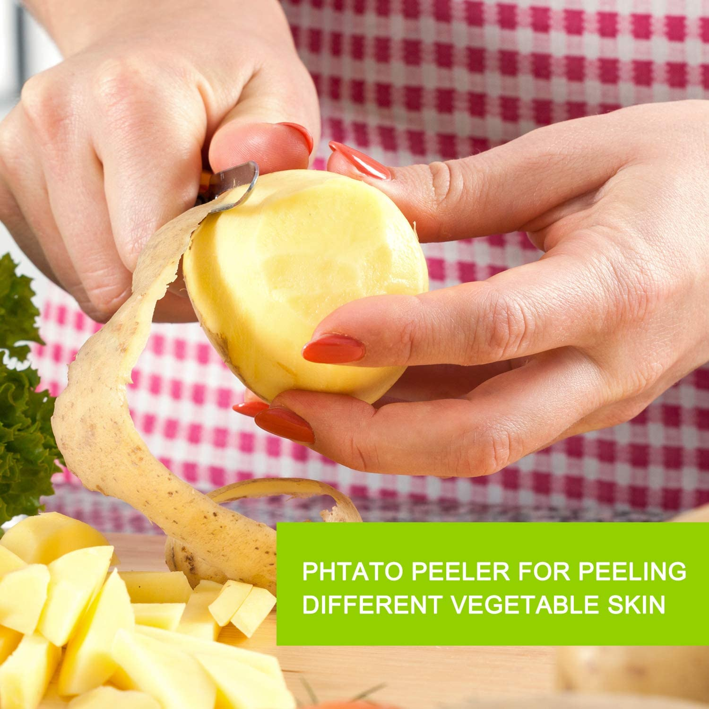 Multifunctional Veggie and Fruit Peeler and Cleaning Brush Set of 3- Dishwasher Safe Trio Peeler Set Best Julienne Vegetable Peeler Stainless Steel Cabbage Carrot /& Potato Peelers