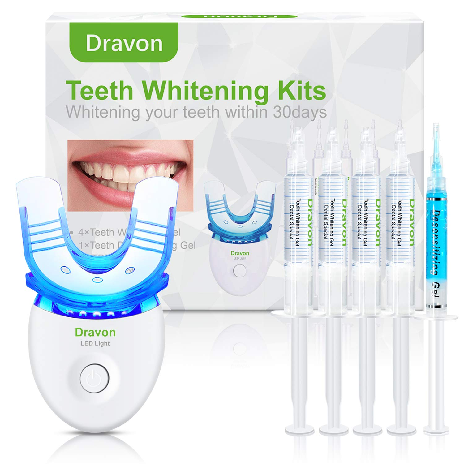 Teeth Whitening, Teeth Whitener, Bright Teeth Whitening Kit, 4 Syringes of 5ml Professional 35% Carbamide Peroxide Tooth Whitening Gel,LED Light, Mouth Tray