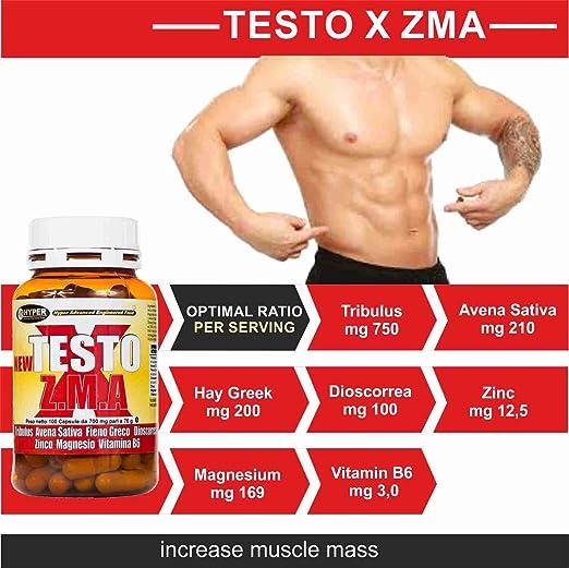 Estimulante de la testosterona natural NEW TESTO X ZMA 100 cps - 70 gr | aumentar la masa muscular | Reducen la fatiga | mejorar el sueño | mantener los ...