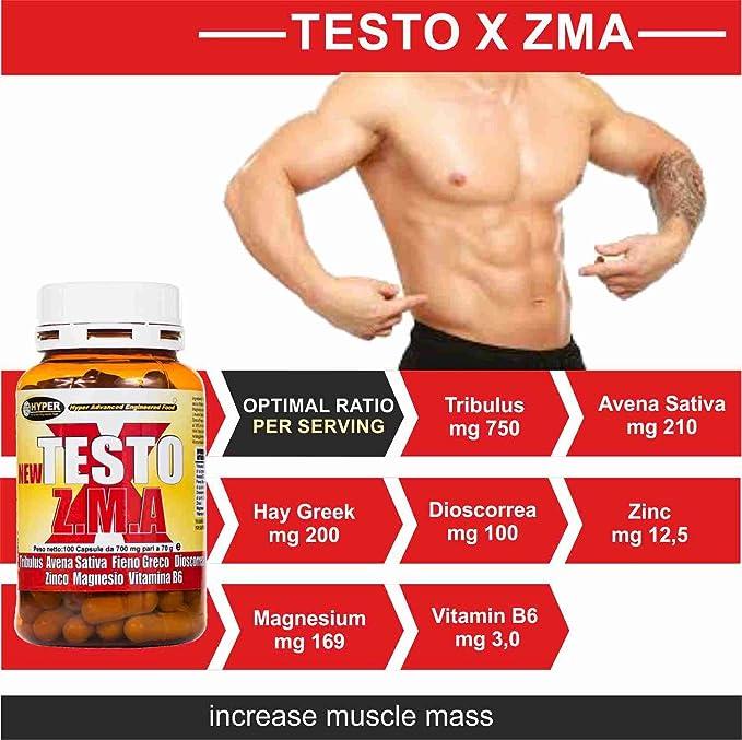 Estimulante de la testosterona natural 5 paquetes NEW TESTO X ZMA 100 cps - 70 gr | aumentar la masa muscular | Reducen la fatiga | mejorar el sueño ...