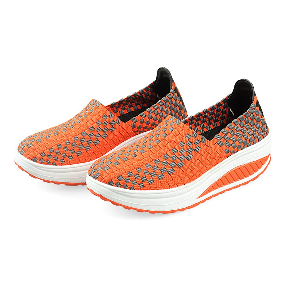 Konfor Women's Lightweight Woven Shape Ups Sneaker Fitness Work Out Slip-on Shoes B0749ZLCBR 7.5 B(M) US = EU38|Orange