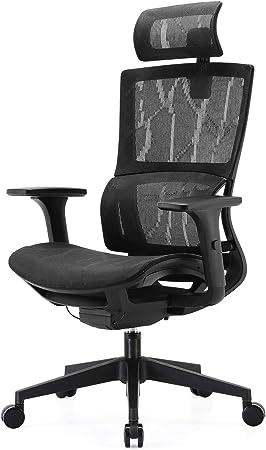 Sedia in Rete Girevole Sedia da scrivania per Computer con Schienale Alto SIHOO Braccioli Regolabili 3D Grigio Supporto Lombare Elastico Unico Sedia da Ufficio Sedia ergonomica