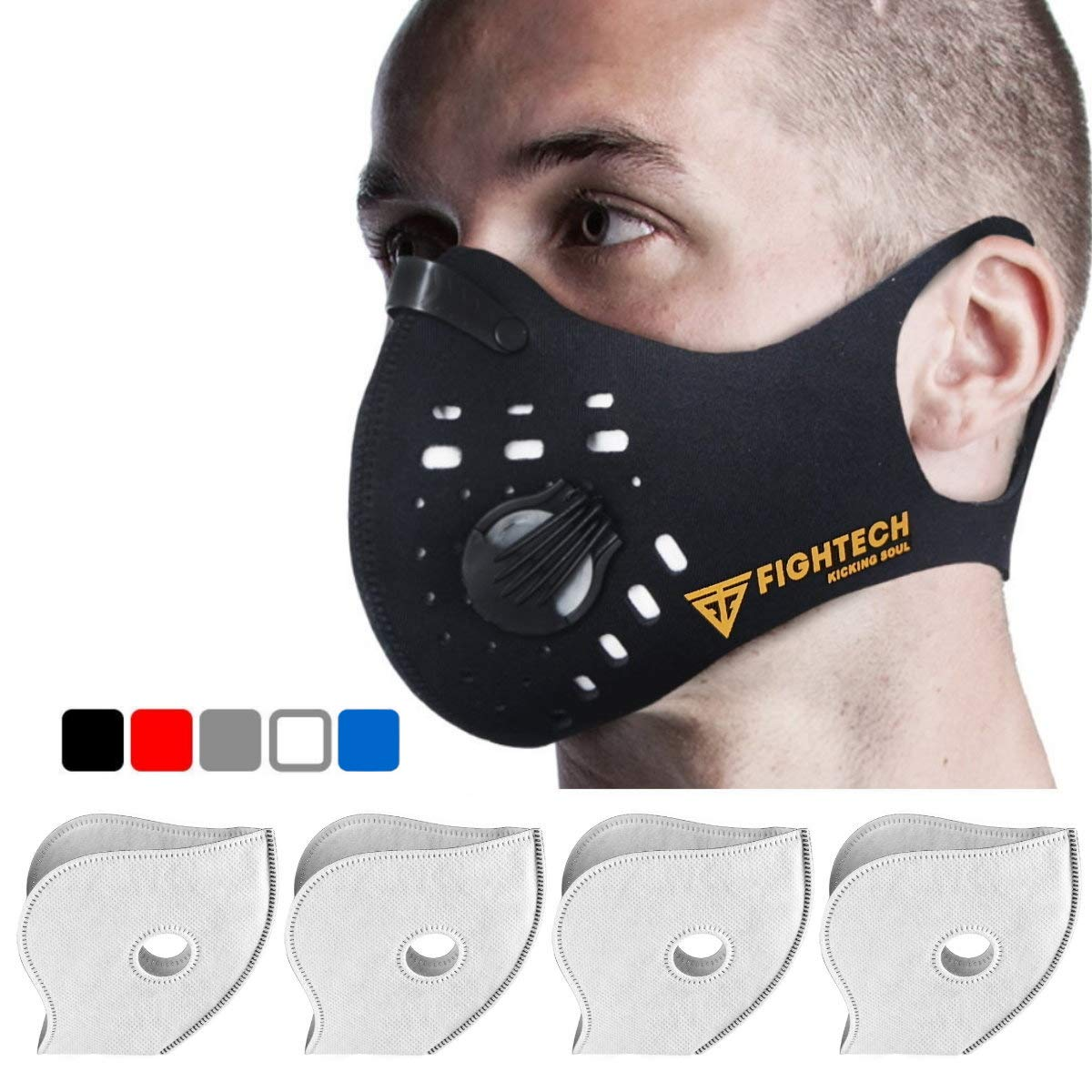 Anti-Pollution Dustproof/Dust Mask with 2 Valves and 4 Activated Carbon N99 Filters. Filtration of Exhaust Gas, Pollen Allergy and PM2.5. Cycling Face Mask for Outdoor Activities by FIGHTECH (BLK) by FIGHTECH (Image #1)