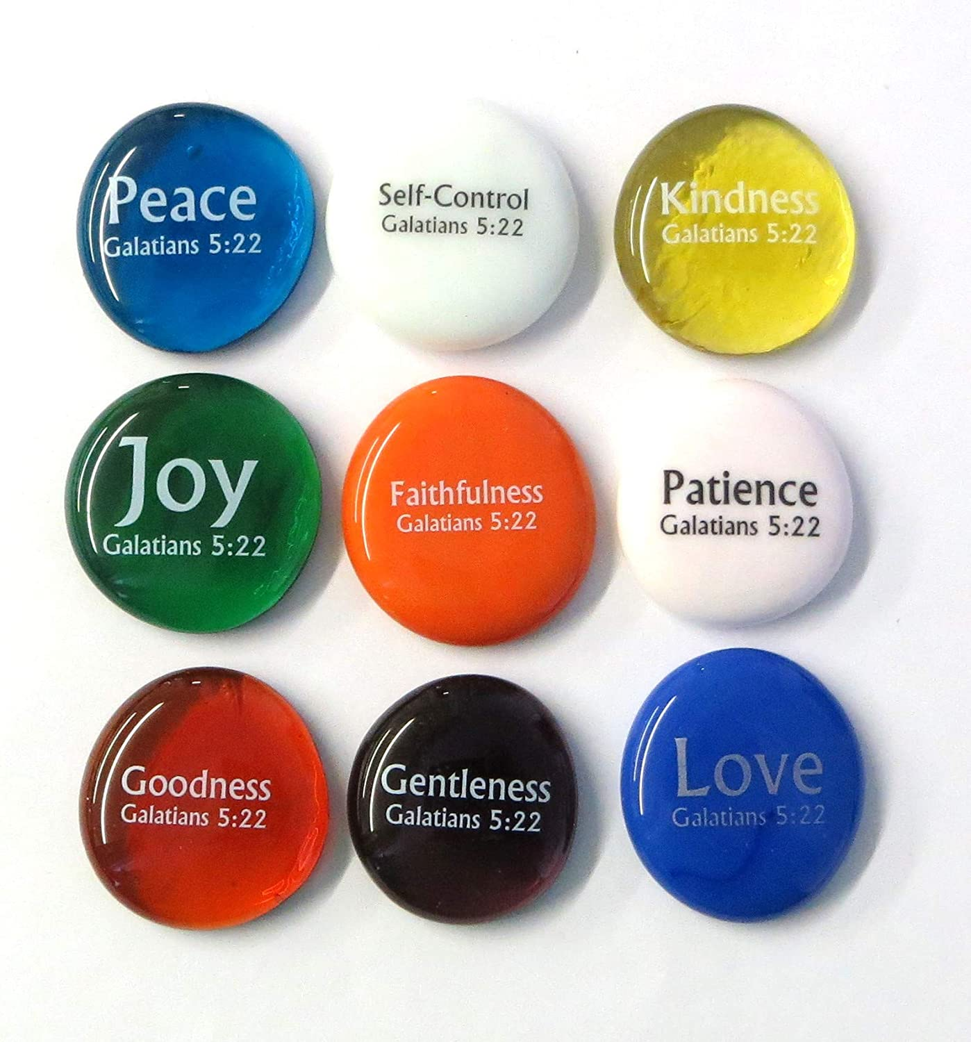 Lifeforce Glass Fruit of The Spirit Glass Stones, 9 Beautiful Rocks, Each with a Word from The Galatians 5:22 Verse. Inspiring Christian Education Tool from