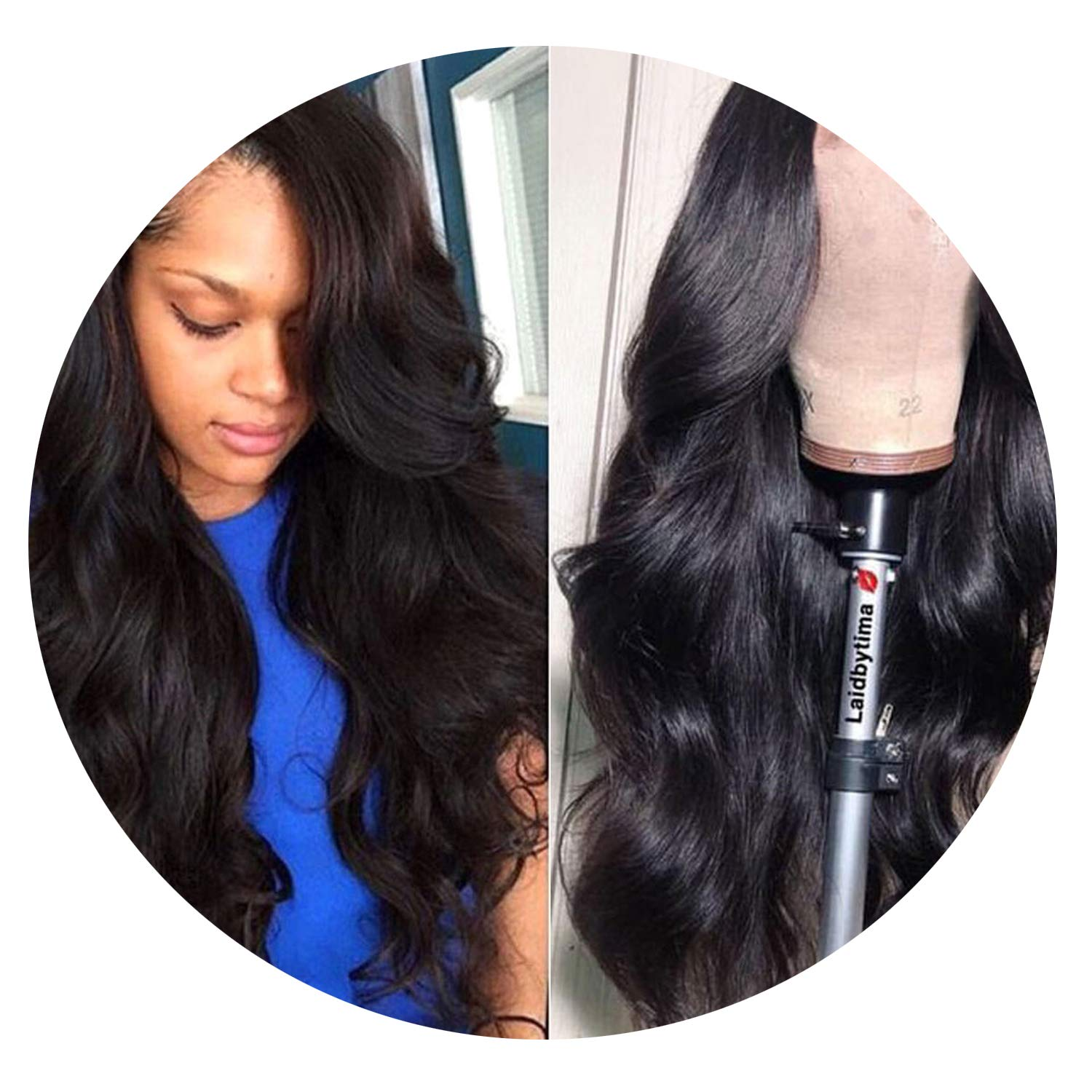 180% Lace Front Human Hair Wigs 13X4 Pre Plucked Remy Brazilian Body Wave Lace Frontal Wigs With Baby Hair For Black Women,Natural Color,10inches,180%