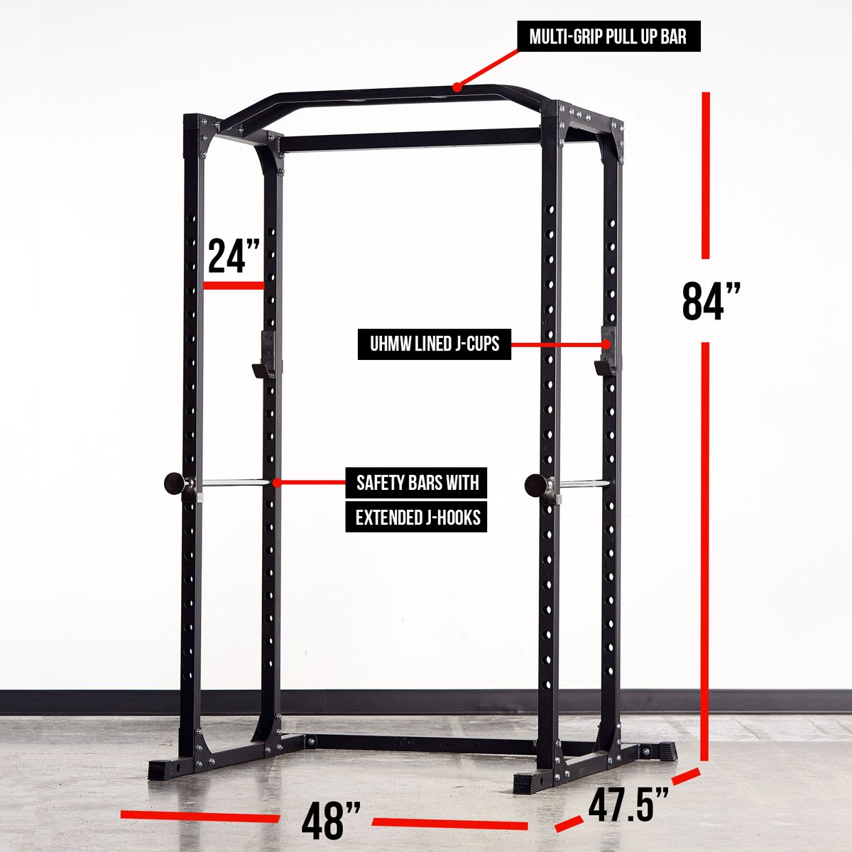 Rep PR-1100 Power Rack - 1,000 lbs Rated Lifting Cage for Weight Training (Silver Power Rack, No Bench) by Rep Fitness (Image #6)