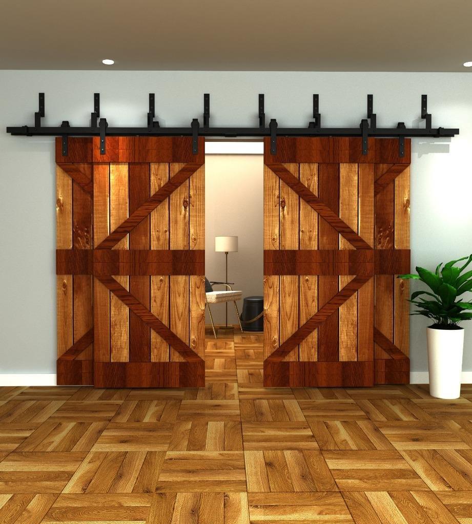 10FT 4 Doors Bypass Sliding Barn Double Door Hardware Track Set(10FT Bypass Kit for 4 Doors)