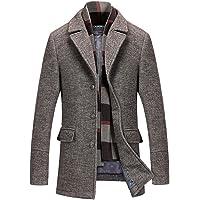 2bdb48a26534 INVACHI Men s Slim Fit Winter Warm Short Wool Blend Coat Business Jacket  with Free Detachable Soft