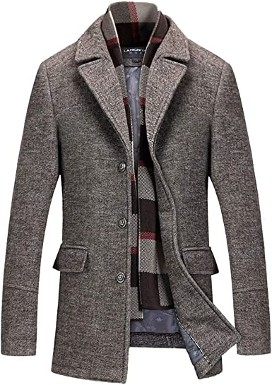INVACHI Men's Slim Fit Winter Warm Short Wool Blend Coat Business Jacket  with Free Detachable Soft Touch Wool Scarf at Amazon Men's Clothing store