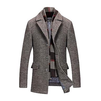 e006d52347351 INVACHI Men s Slim Fit Winter Warm Short Wool Blend Coat Business ...