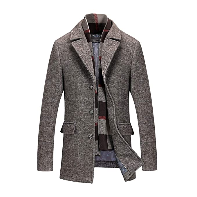 Amazon.com: Invachi - Abrigo de lana para hombre con bufanda ...