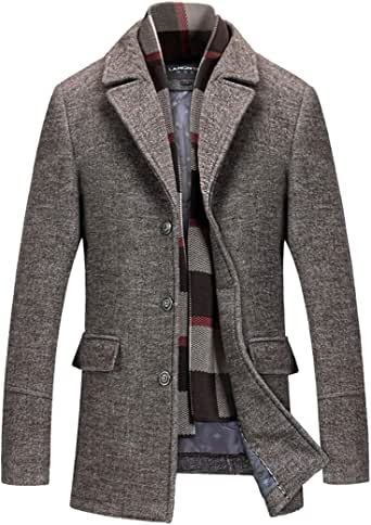 INVACHI Men's Slim Fit Winter Warm Short Woolen Coat Business Jacket with Free Detachable Soft Touch Wool Scarf