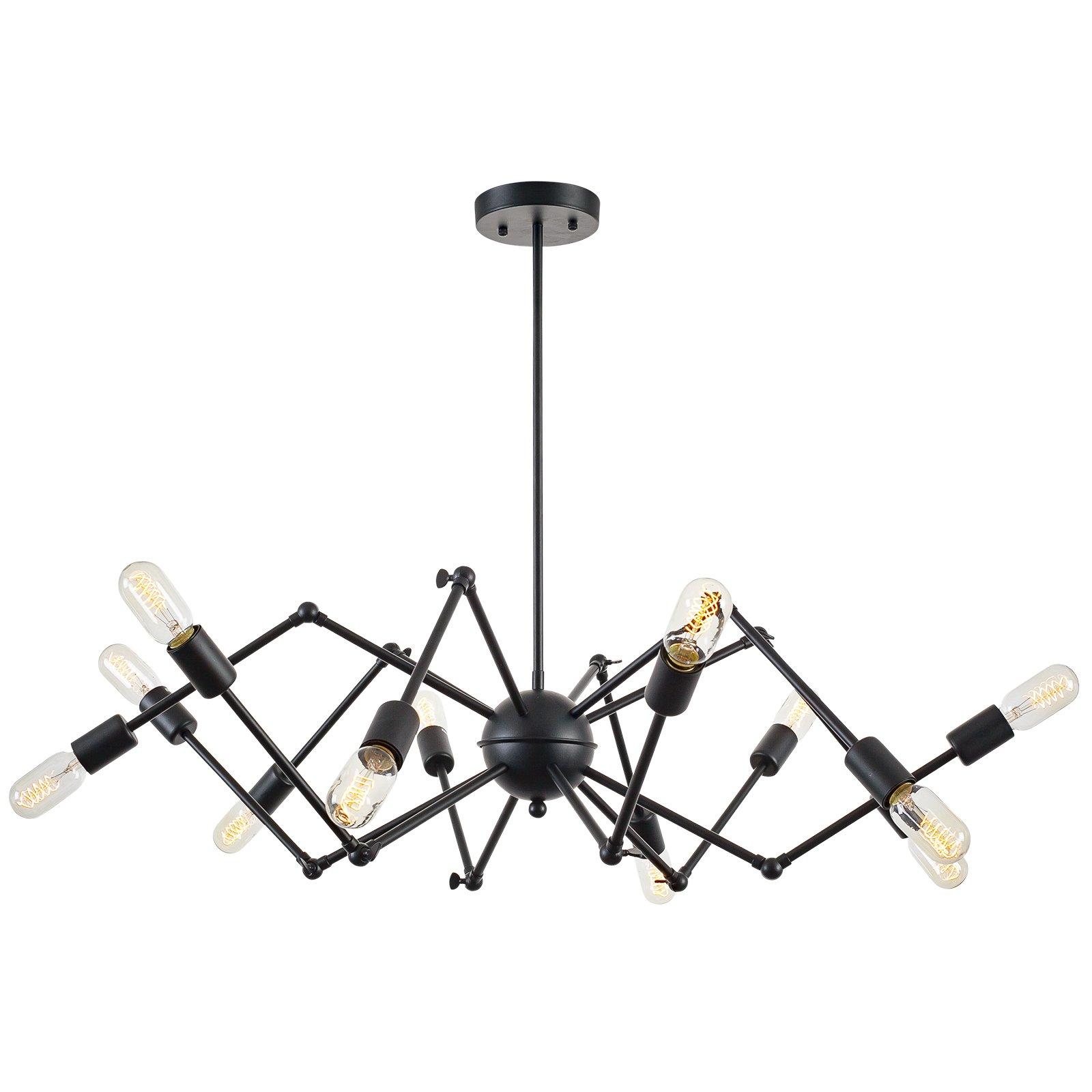 Light Society Arachnid 12-Light Chandelier Pendant, Matte Black, Mid Century Modern Industrial Starburst-Style Lighting Fixture (LS-C111-BLK)