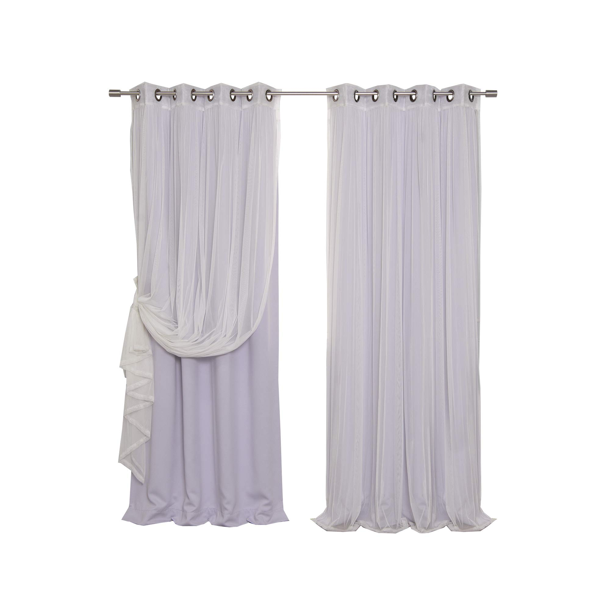 Best Home Fashion Mix & Match Tulle Sheer Lace & Blackout Curtain Set - Antique Bronze Grommet Top - Lilac - 52'' W X 84'' L - (2 Curtains and 2 Sheer curtains)
