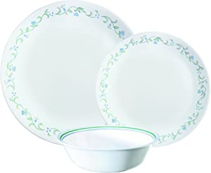 Corelle Vitrelle Glass 12-Piece Country Cottage Chip and Break Resistant Dinner Set, Green/Blue - 3029B