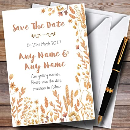 amazon com golden autumn leaves watercolour personalized wedding