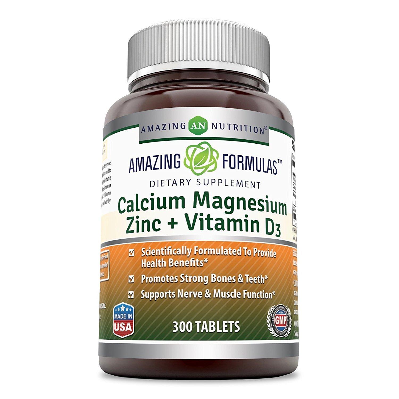 Amazing Formulas Calcium Magnesium Zinc D3 300 Tablets Per Bottle Calcium