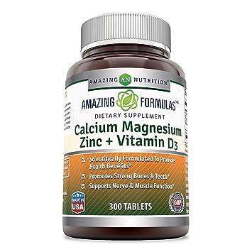 Amazing Formulas Calcium Magnesium Zinc + D3 - 300 Tablets Per Bottle  (Calcium 1000mg -