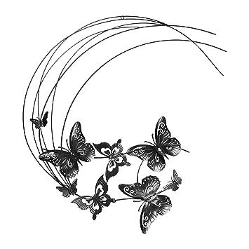 Ostaria papillons décoration murale métal noir 60 5 x 3 5 x 70 7 cm