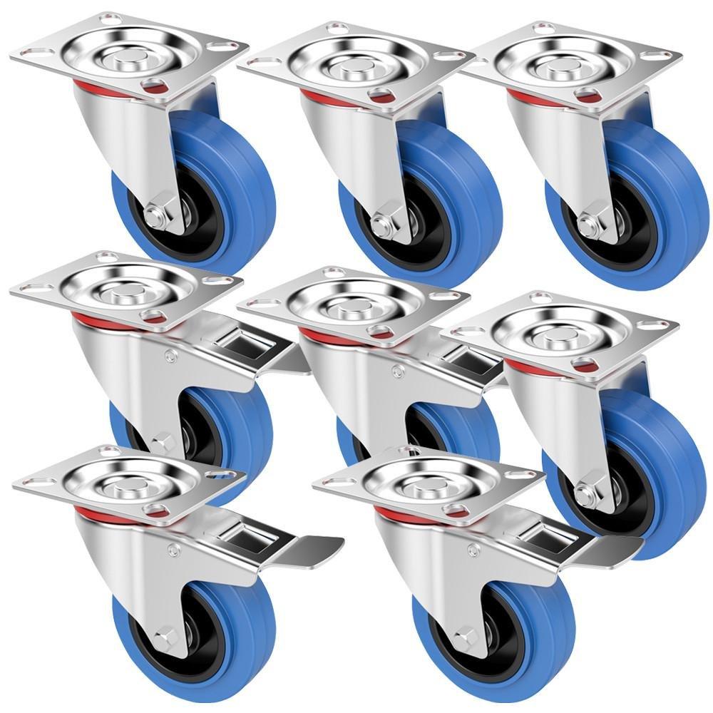 Yaheetech lot de 8 Roulettes 100mm, Roues Pivotants Transport avec Freins Plaquet pour Meuble Mobile, Capacité de 180kg, Bleu Capacité de 180kg