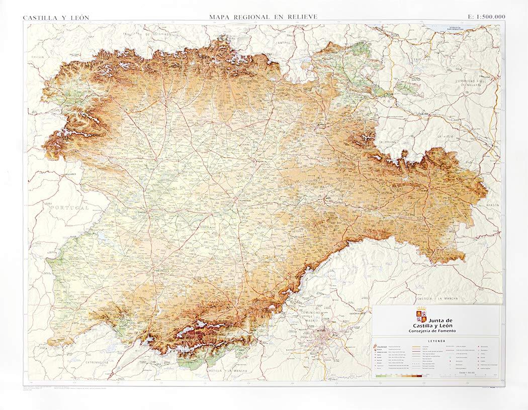 Mapa En Relieve De Castilla Y Leon Escala 1 500 000 Amazon Es