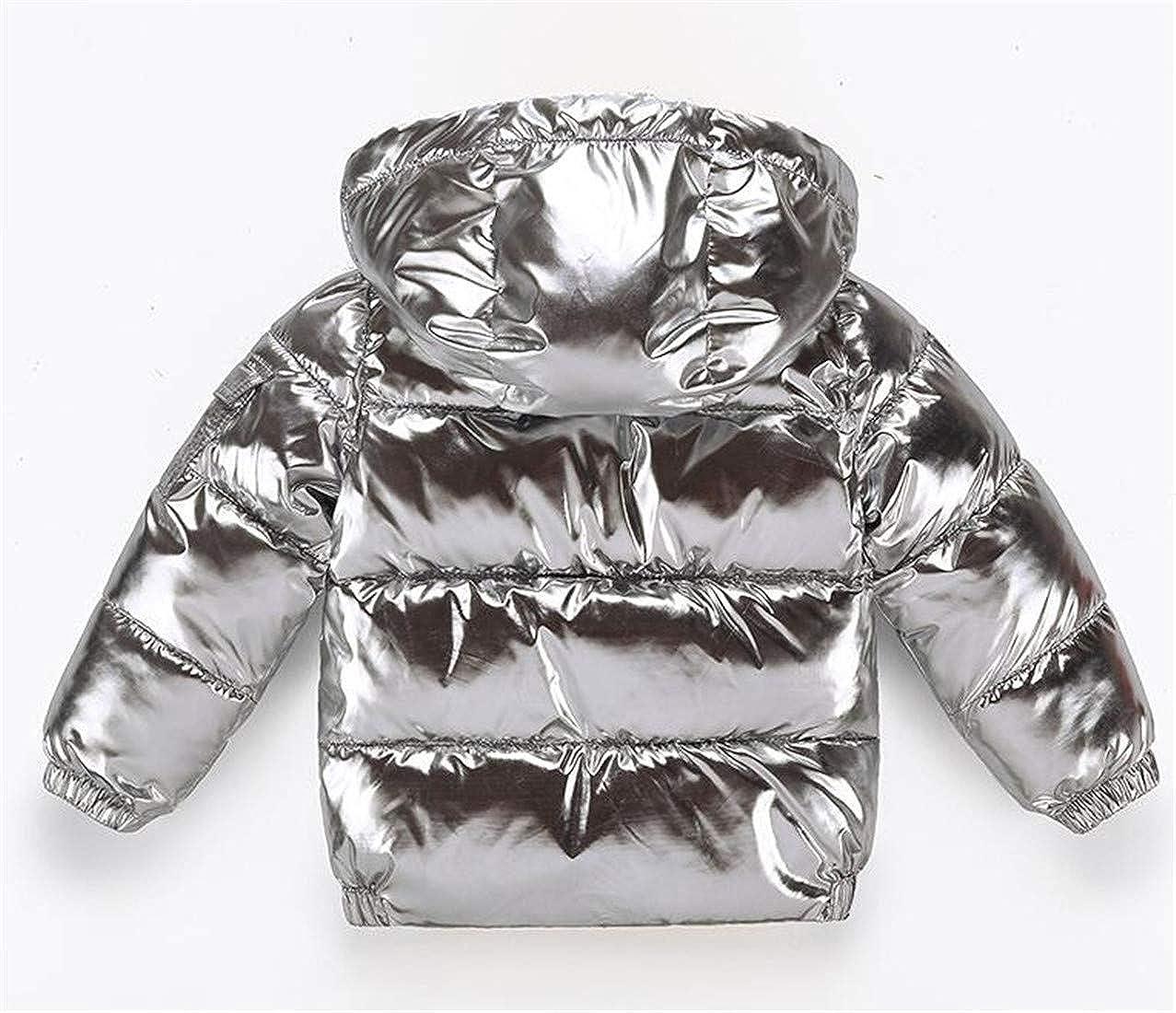 Adriat Boy Girl Hooded Fleece Shiny Cotton Padded Parka Jacket Coat